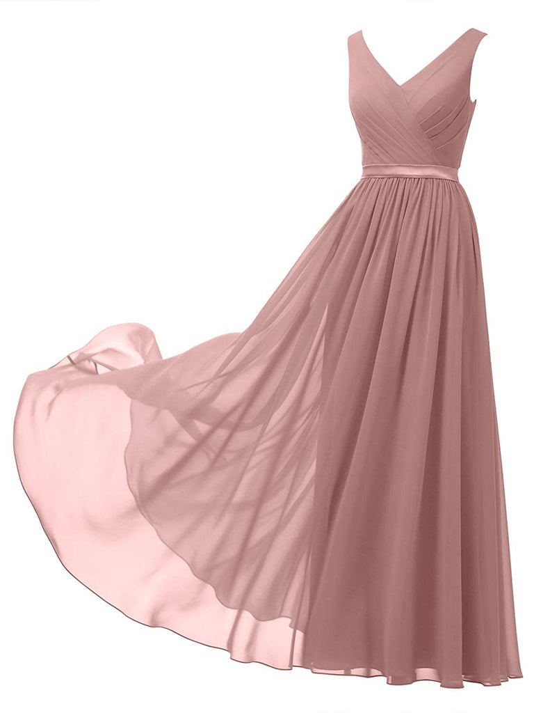 V-Neck Chiffon Bridesmaid Dress Long Party Evening Formal Gown Sleeveless