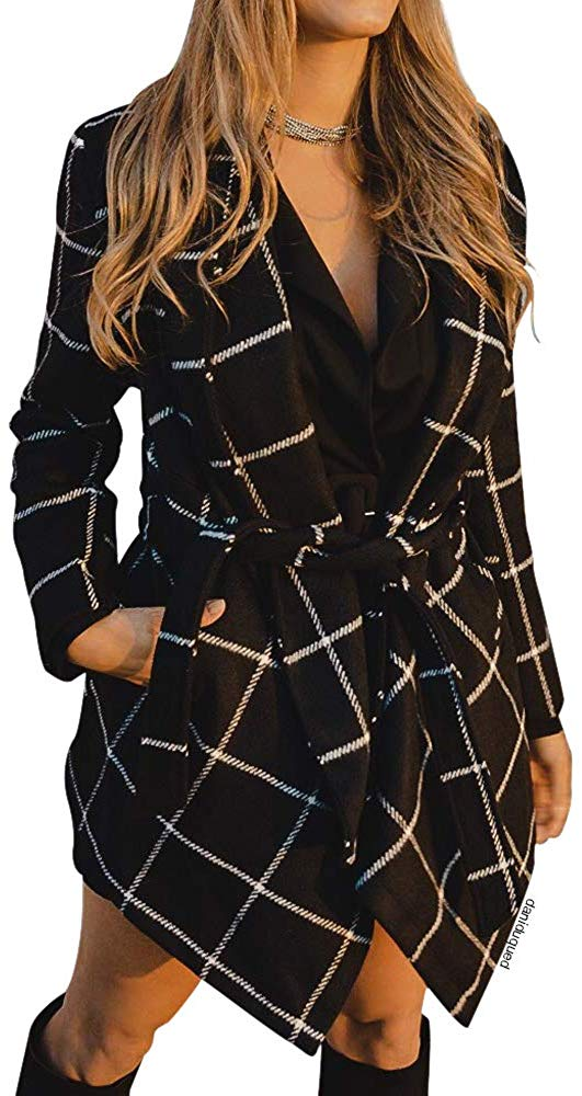 Women's Turn Down Shawl Collar Earth Tone Check/Black White Grid/Black/Plum/Cream/Pink Wool Blend Coat