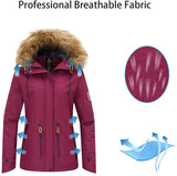 Women's Waterproof Ski Fleece Jacket Mountain Parka Warm Faux Fur Collar