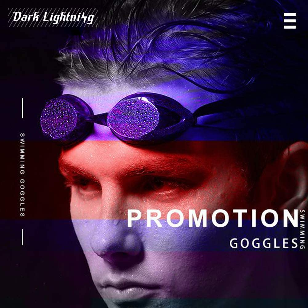 Dark Lightning Swim Goggles for Men/Women/Youth/Mirrored Swim Goggles, No Leaking/Anti Fog, Competitive Good