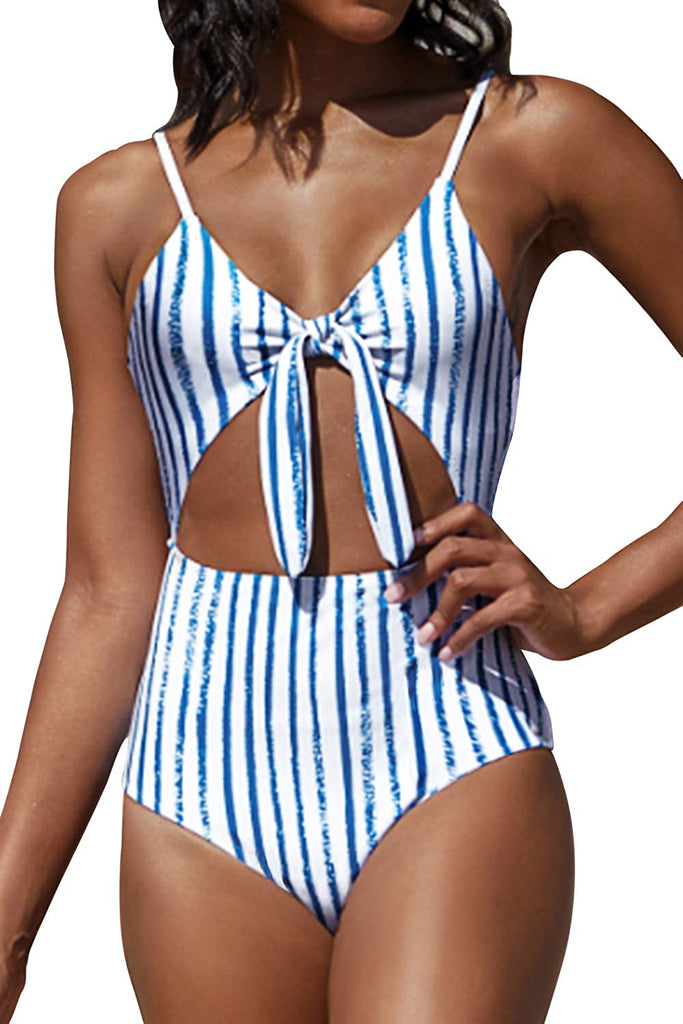 Women's Lush Leaves Print Cut Out Design One-Piece Swimsuit