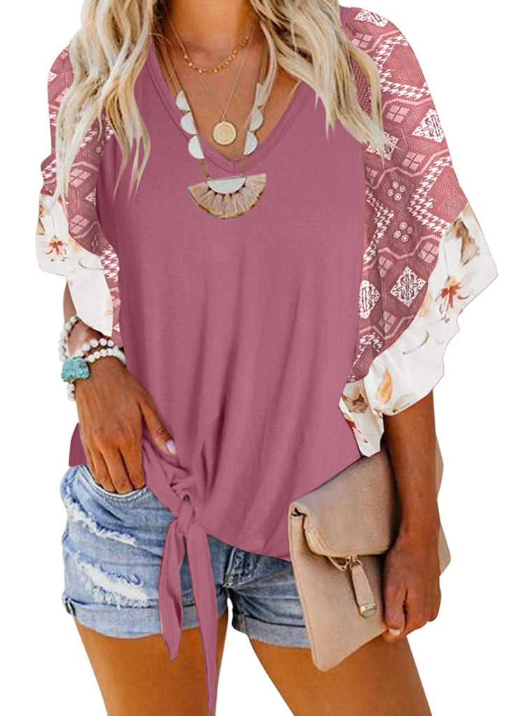 Womens Boho Floral Printed Geometric Irregularity Bell Short Sleeve Blouse Tops