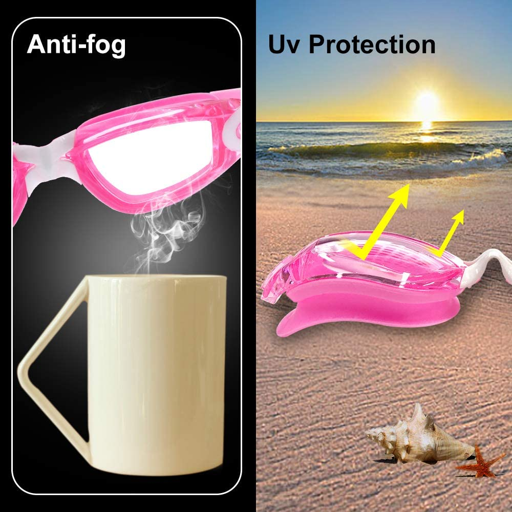 Swim Goggles for Kids Swimming Goggles UV 400 Protection Anti Fog No Leaking Wide View Pool Goggles