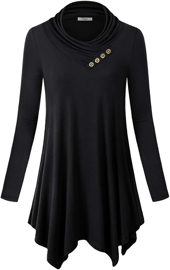 Womens Long Sleeve Cowl Neck Asymmetrical Hemline Flowy Tunic Top