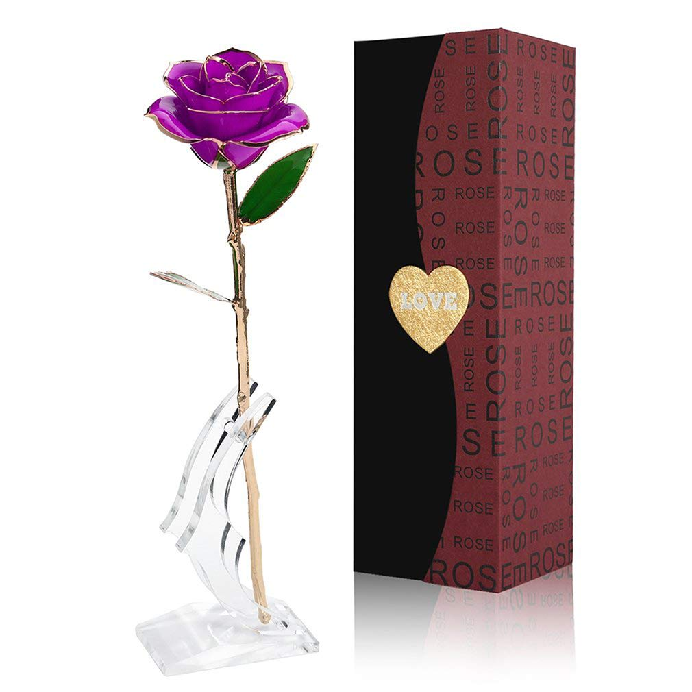 24K Gold Foil Trim Rose Flower Long Stem with Transparent Stand, Anniversary Gifts for Her, Best Gift for Valentines Day