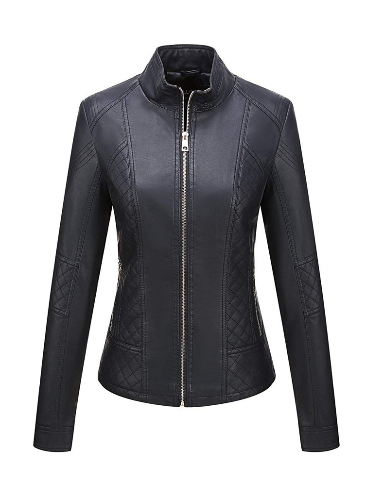 Faux Leather Jacket for women,Moto Casual Short Coat for Spring and Fall