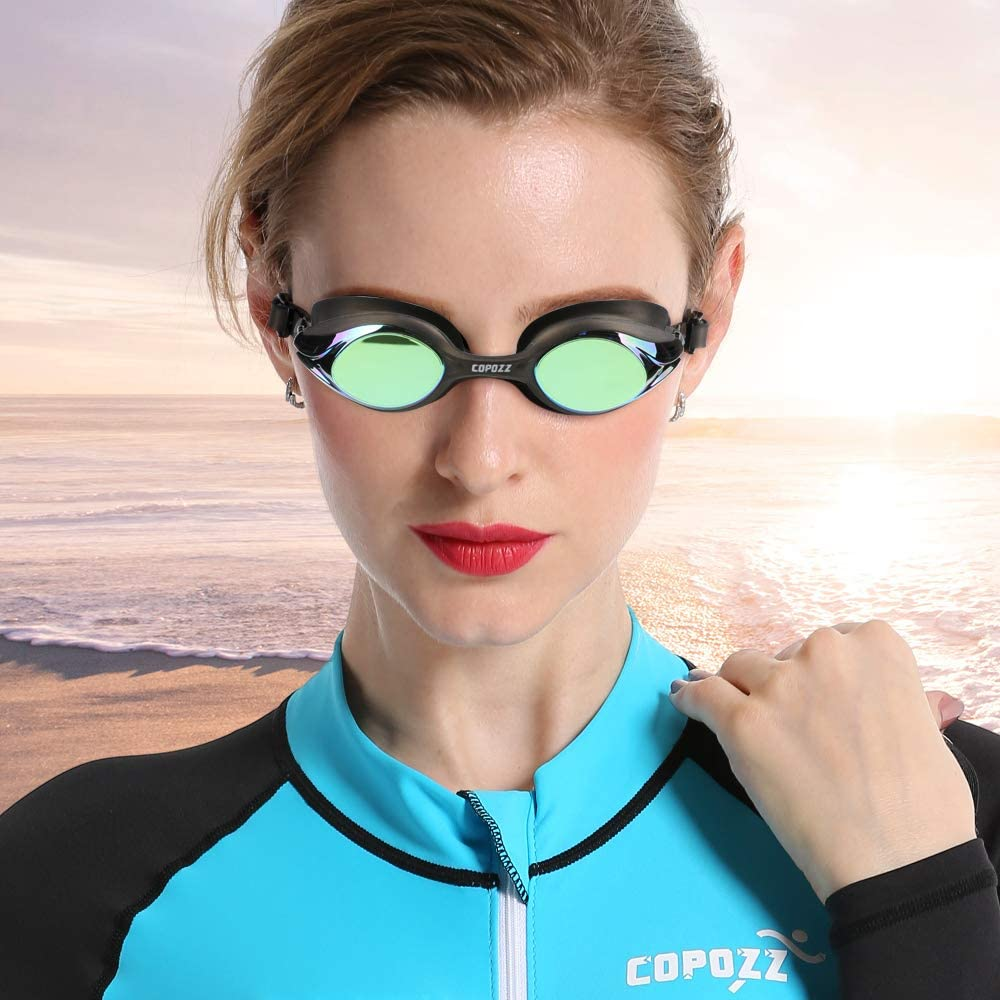 Competitive Swim Goggles, 3912 Shatterproof Swimming Reflective Mirror/Clear Anti Fog UV Protection Water Goggles
