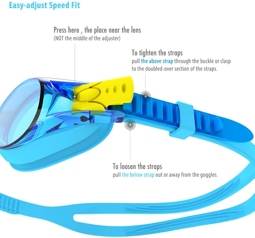 Kids Swimming Goggles, Child (Age 4-12) Waterproof Swim Goggles Clear Vision Anti Fog UV Protection No Leak