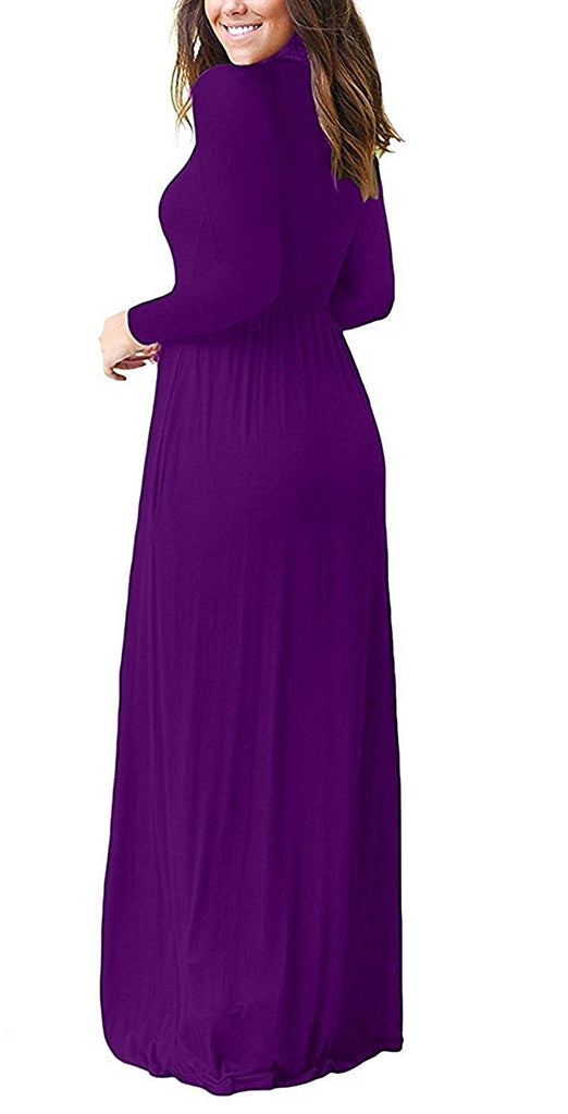 GRECERELLE Casual Long Dresses with Pockets Women's Long Sleeve Loose Plain Maxi Dresses