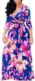 Women's Sexy V Neck Floral Long Sleeves Maxi Dresses Casual Loose Party Prom Ladies Outfits