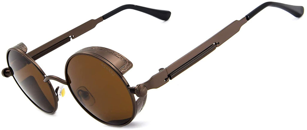 Steampunk Style Round Vintage Polarized Sunglasses Retro Eyewear UV400 Protection Matel Frame