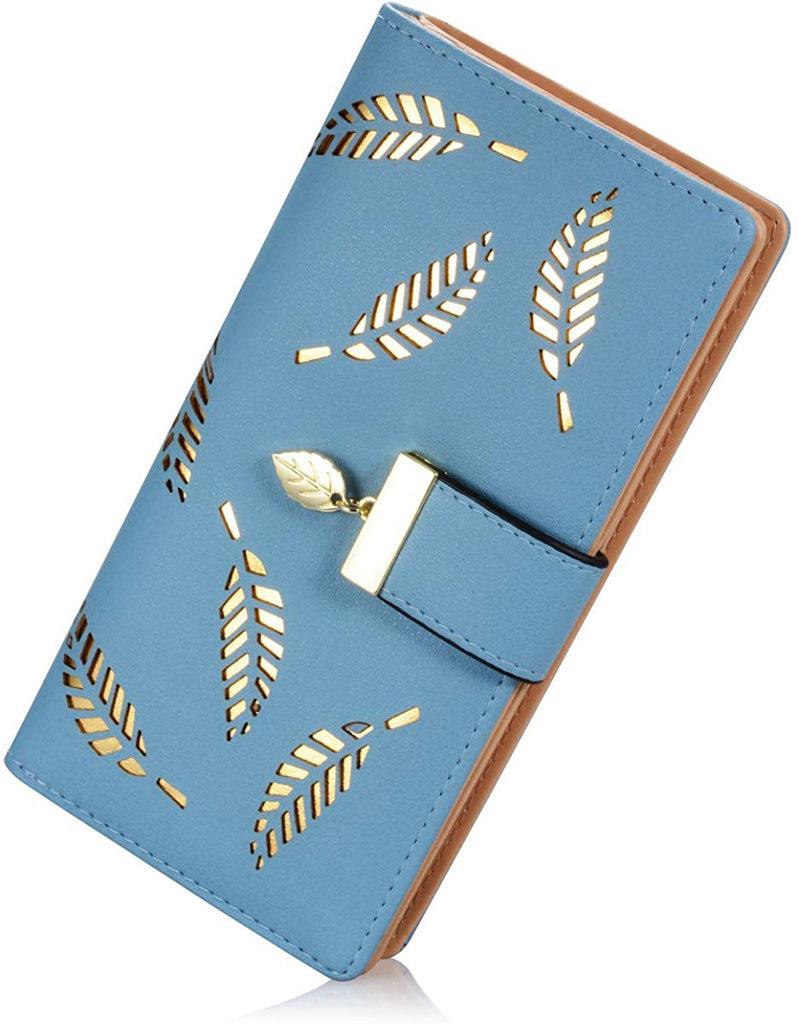Women's Long Leather Card Holder Purse Zipper Buckle Elegant Clutch Wallet