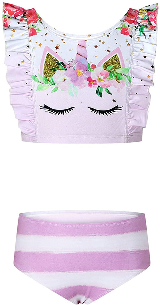 Girls' 3D Funny Print Ruffle Bikini Beach 2 Piece Swimsuits Swimwear Bathing Suit