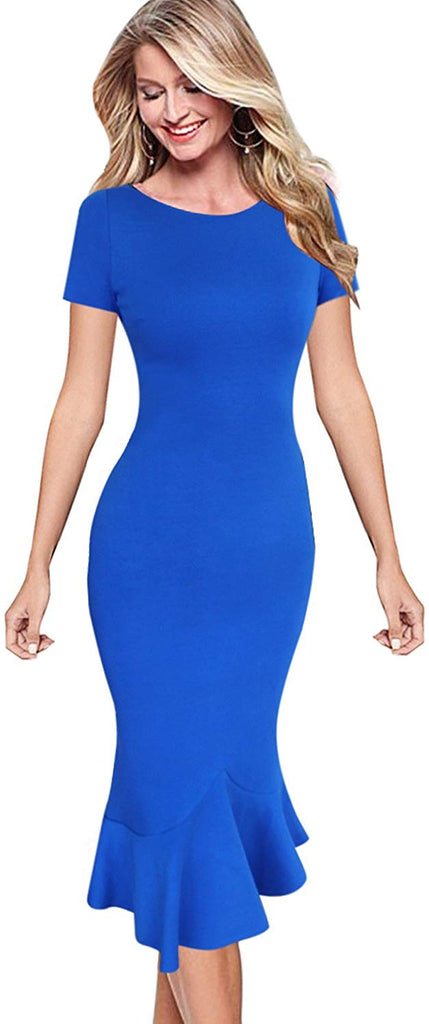 Womens Elegant Vintage Cocktail Party Mermaid Midi Mid-Calf Dress  Round/Sweetheart Neckline