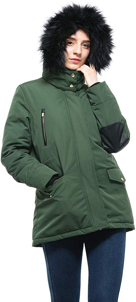 Women's Lined Hooded Thickened Insulated Winter Parka Jacket Anorak Puffer Coat with Removable Faux Fur Trim