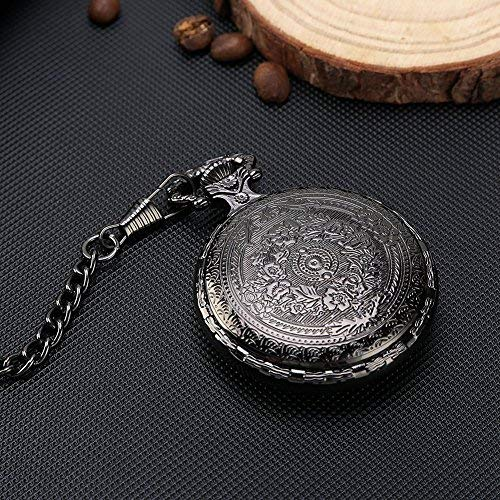 Black Classical Pocket Watch Retro Steampunk Pattern Quartz Numerals Pocket Watch for Xmas Birthday Fathers Day Gift