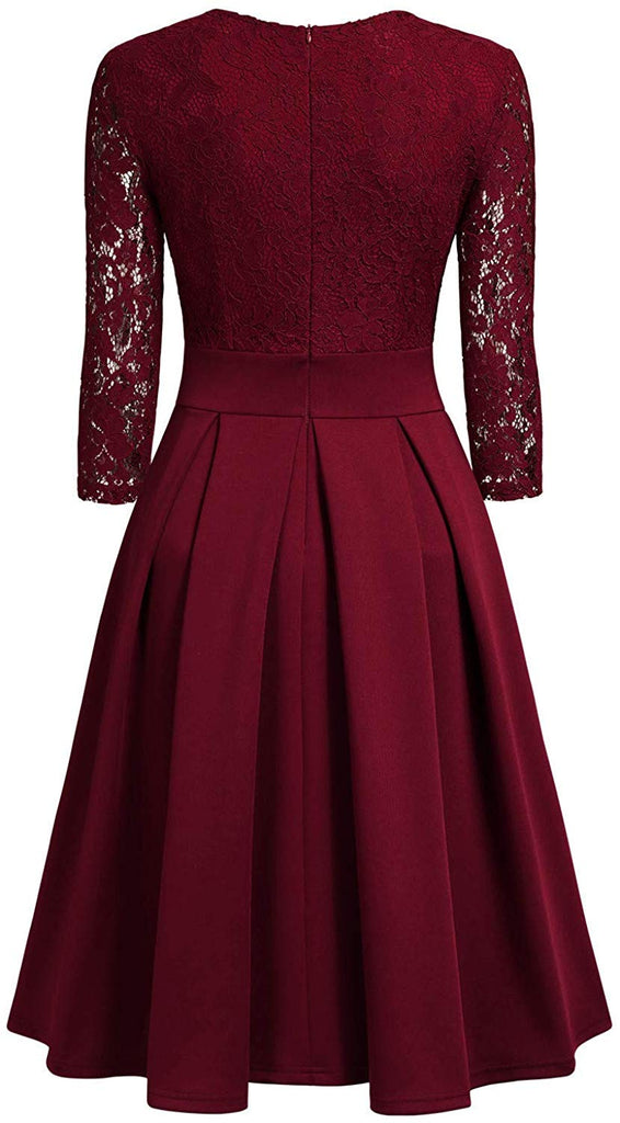 Women's Vintage Floral Lace 2/3 Sleeve Bridesmaid Party Dress