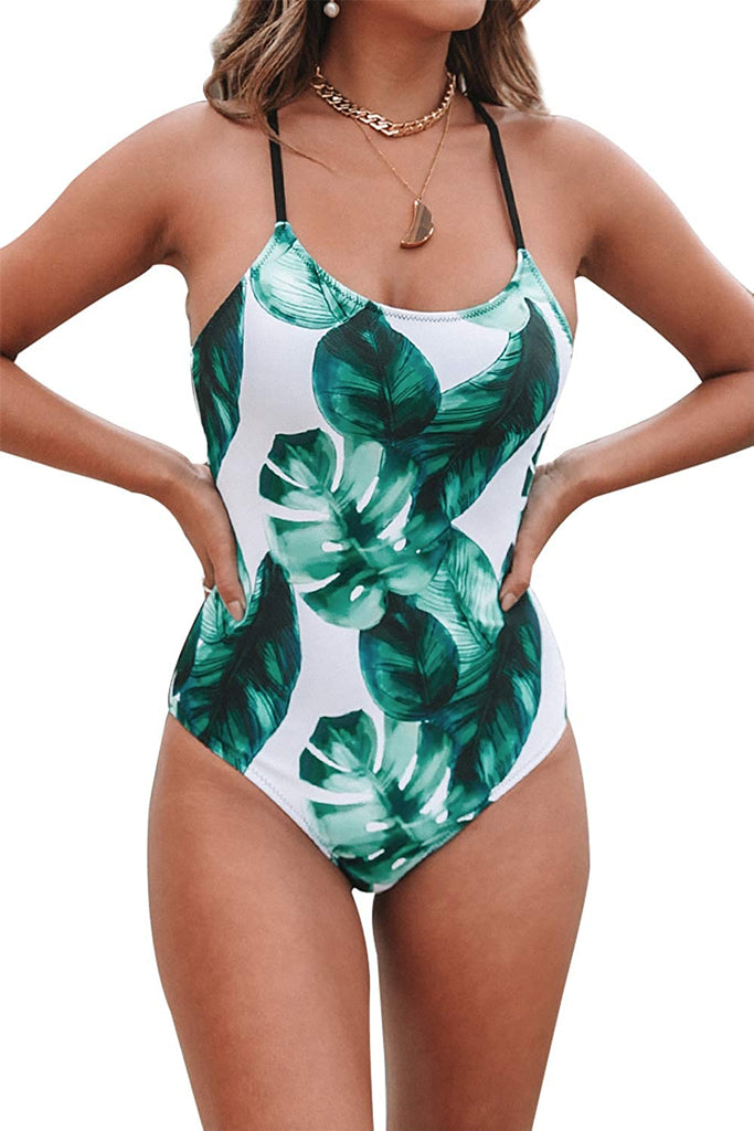 Women's Tropical Leaf Print Lined Lace Up Back Padded One Piece Swimsuit
