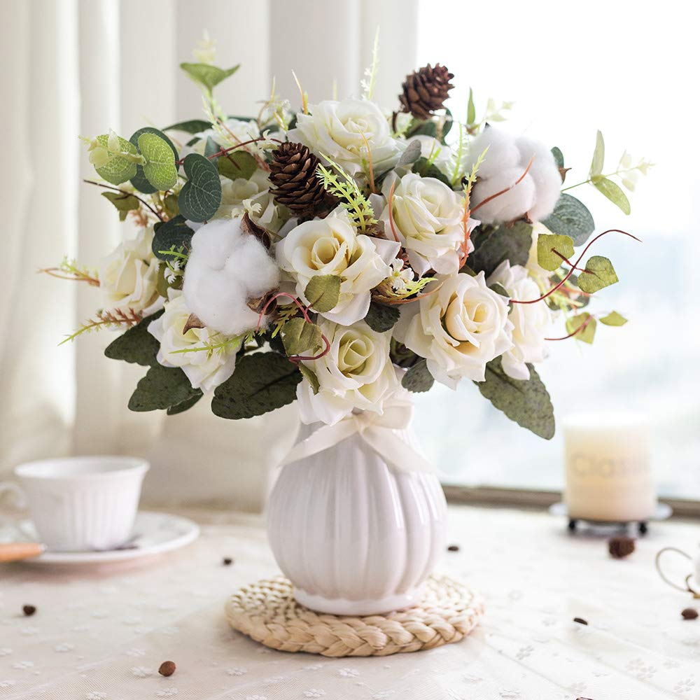 Bouquets with Ceramics Vase Fake Silk Rose Flowers Decoration for Table Home Office Wedding (Beige)