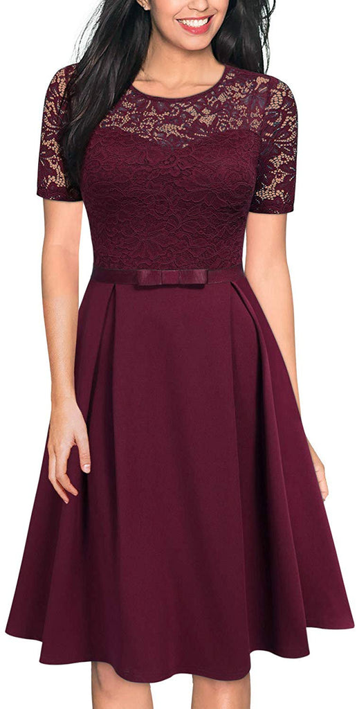 Women's Vintage Floral Lace Scoop Neck Short Sleeve Cocktail Party Swing Dress