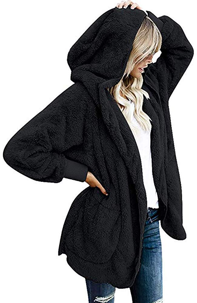 Womens Fuzzy Fleece Loose Open Front Hooded Cardigan Coats Outwear Pockets