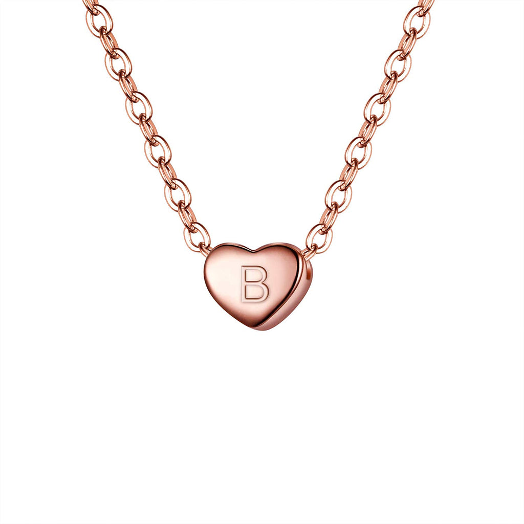 925 Sterling Silver Tiny Initial Heart Pendant Choker Necklace for women
