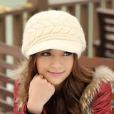 Women Winter Warm Knit Hat Wool Snow Ski Caps with Visor