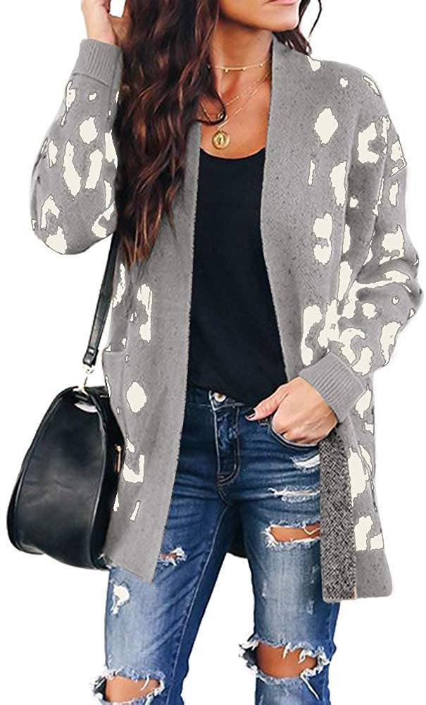 Leopard Print Cardigan Sweater Open Front Long Sleeve Loose Knit Coat with Pockets for women