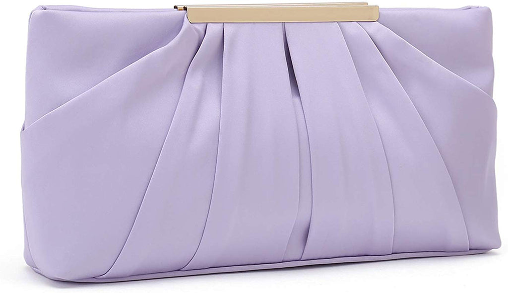 womens Clutch Evening Bag Elegant Pleated Satin Formal Handbag Simple Classy Purse