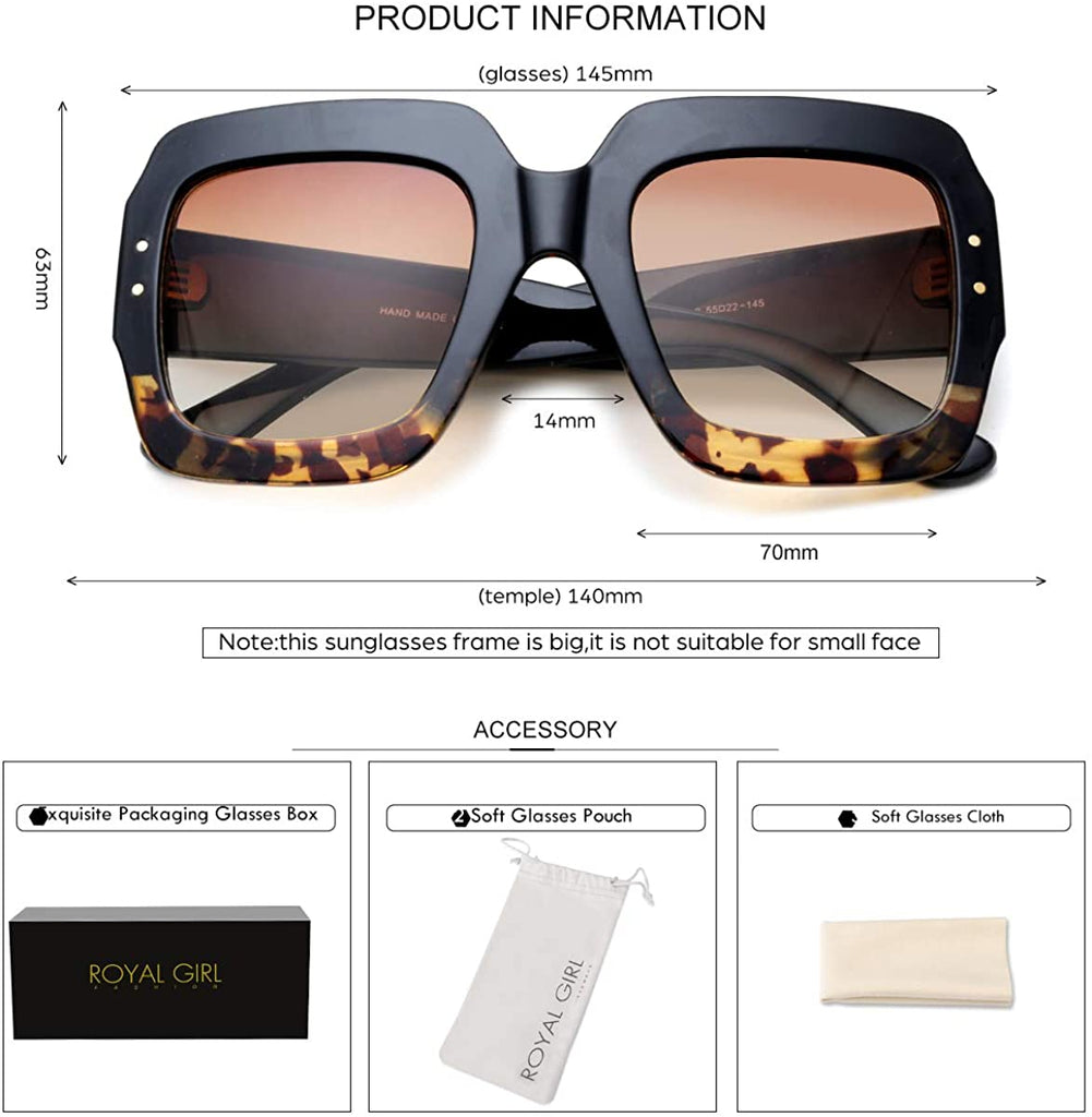Oversized Square Sunglasses Women Inspired Multi Tinted Frame Fashion Modern Shades