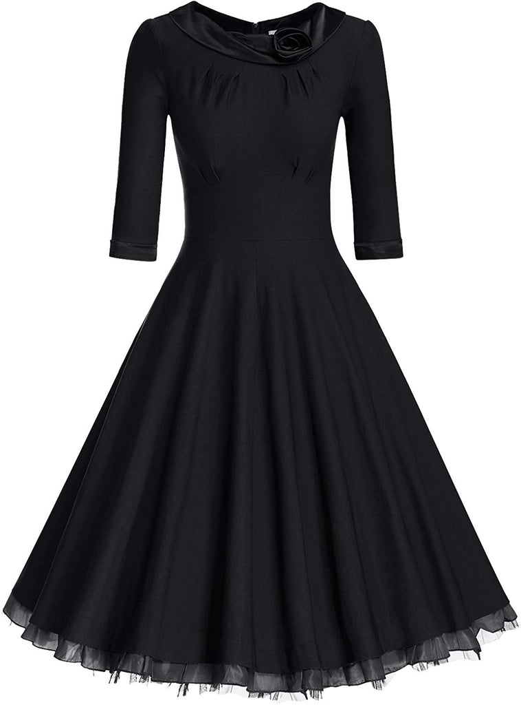 Women's 1950s Vintage 3/4 Sleeve Rockabilly Swing Dress
