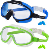 Kids Swim Goggles, Pack of 2 Swimming Goggles for Children Teens Boys & Girls Age 4-15, Crystal Clear Wide Vision
