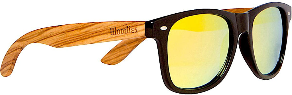 Zebra Wood Sunglasses with Mirror Polarized Lens for Men and Women