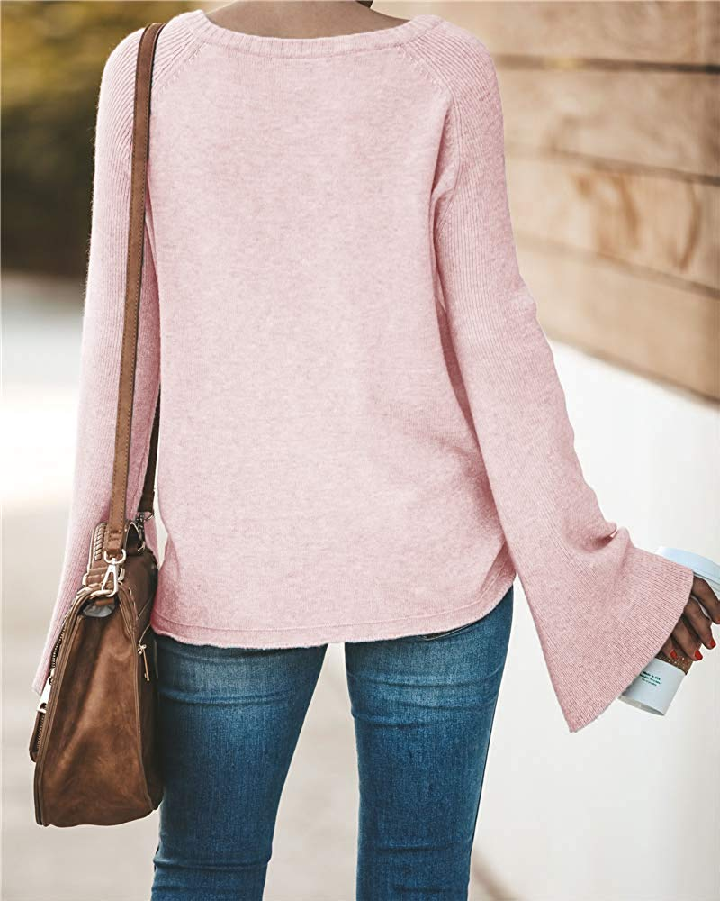 Women's Casual Crew Deep V Neck Kimono Bell Sleeve Loose Fit Solid Pullover Sweater Knitted Jumper Tops Knitwear