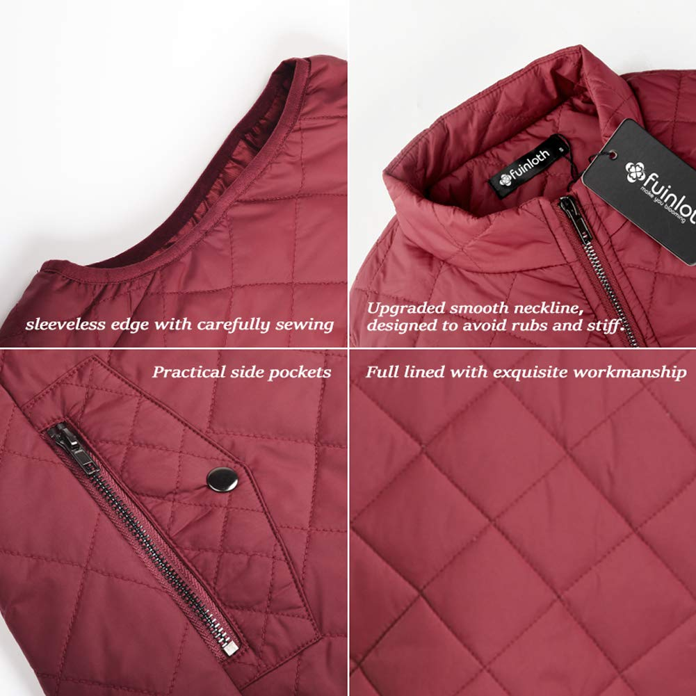 Women's Padded Vest, Stand Collar Lightweight Zip Quilted Gilet