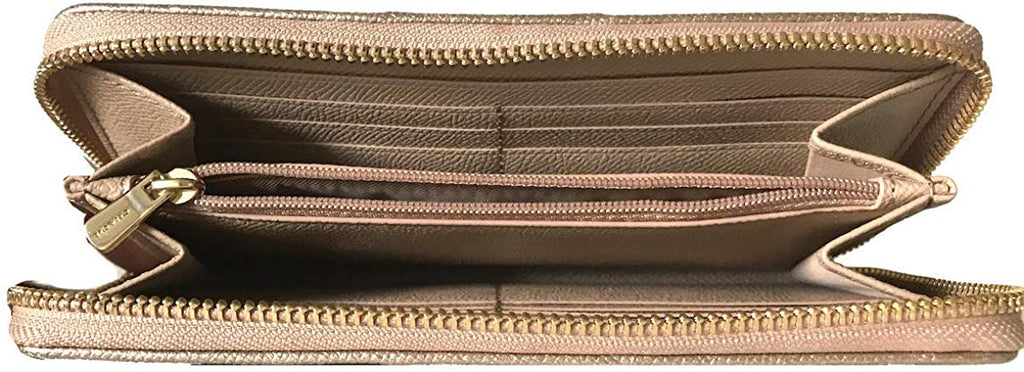 Patent Crossgrain Leather Accordion Zip Wallet for women