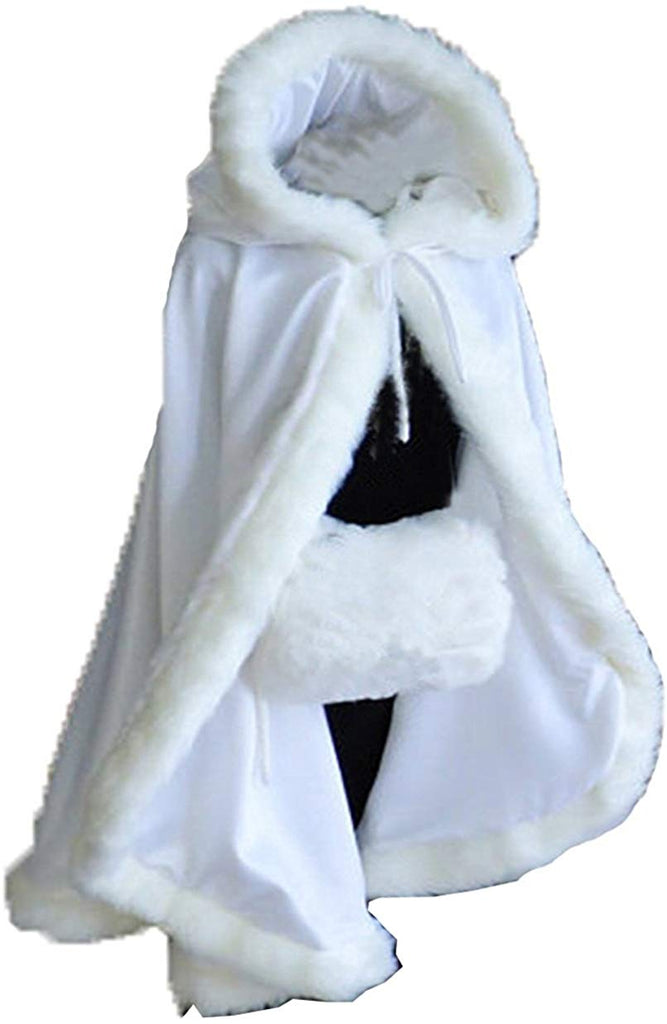 Women's Winter Cloak Hooded Faux Fur Edge Short Bridal Christmas Wraps