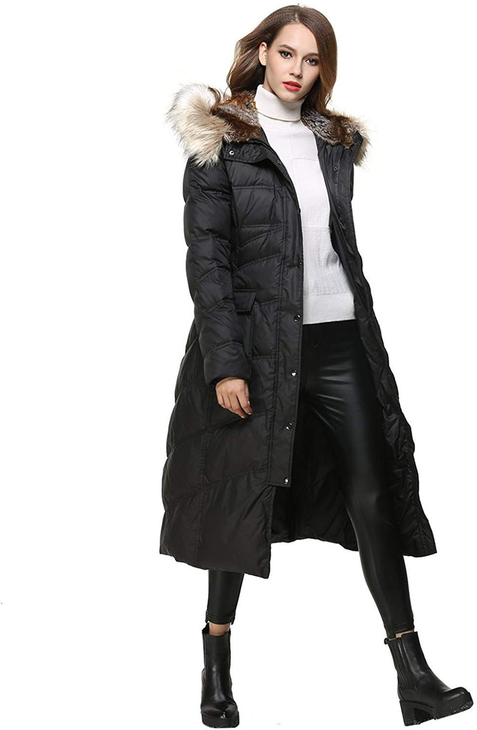 Women's Long Thickened Fur Hooded Down Jacket with Sashes