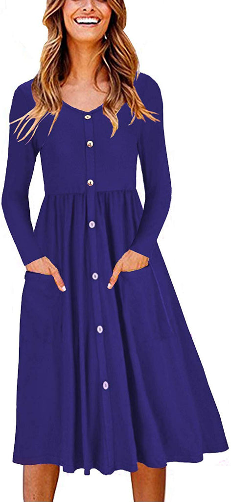 Women's Long Sleeve V Neck Button Down Skater Dress with Pockets