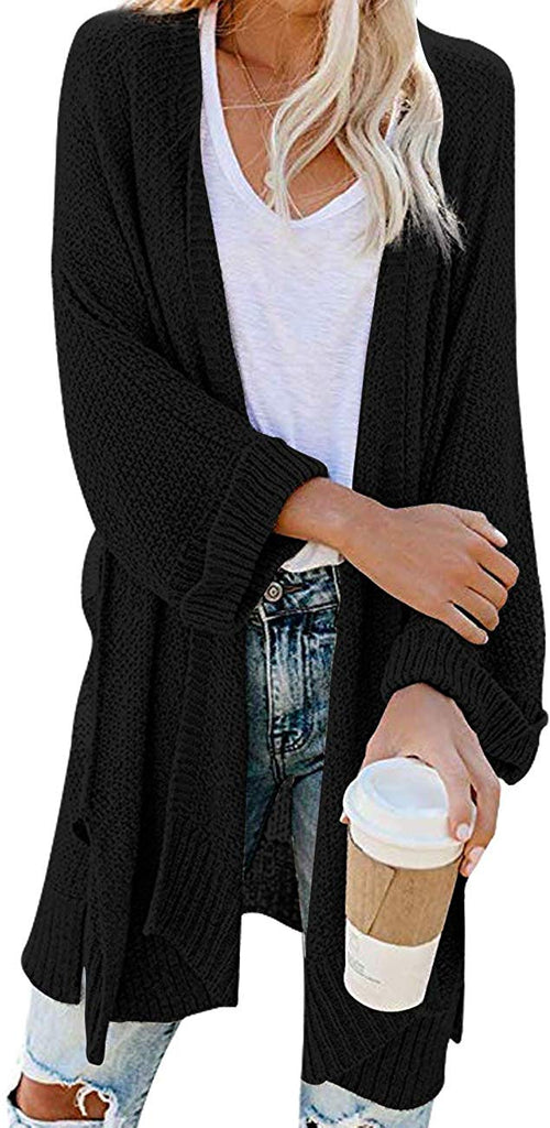 Women's Loose Open Front 3/4 Sleeve Knit Kimono Cardigans Sweater with Pockets