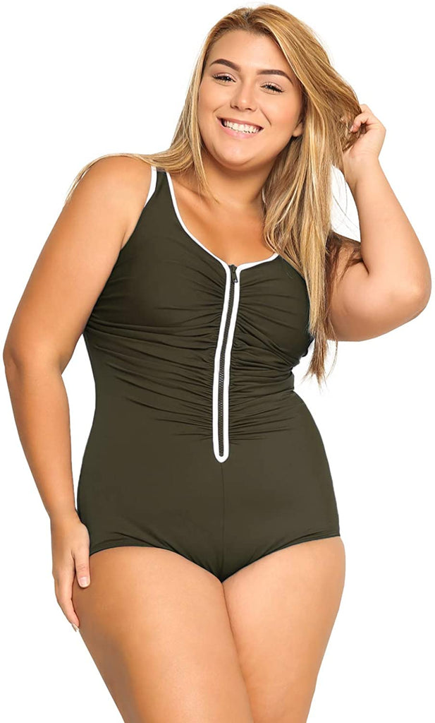 Women's Built-in Cup Plus Size Swimsuits One Piece Zip Front Bathing Suits