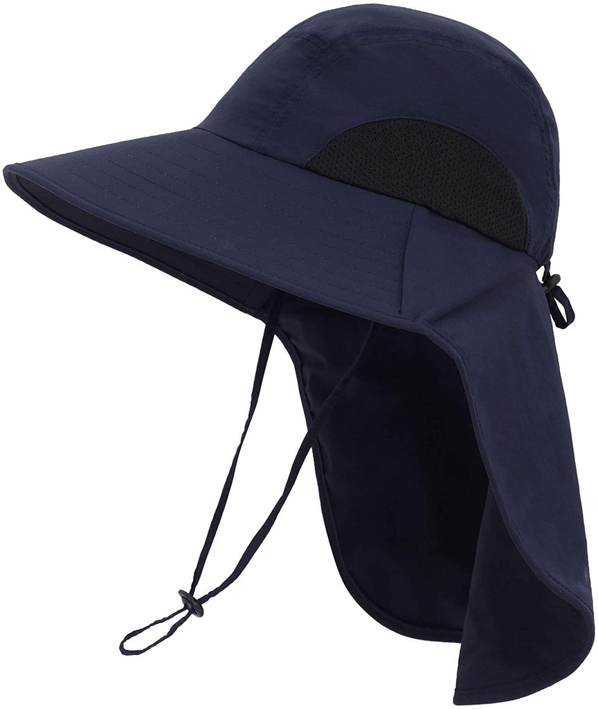 Womens Foldable Flap UPF 50+ UV Protective Bucket Sun Hat w/Neck Cord