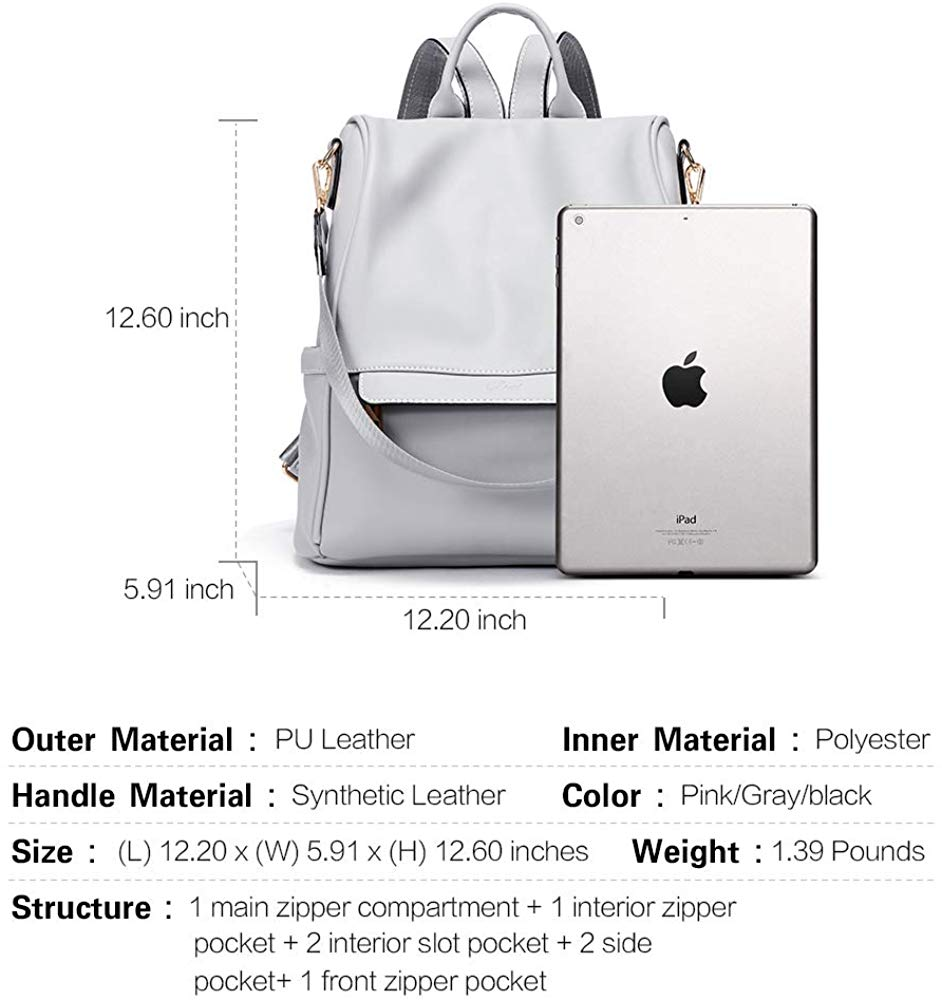 Women Backpack Purse Fashion Leather Large Travel Bag Ladies Shoulder Bags