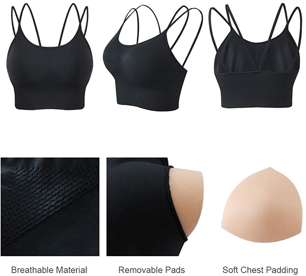 Sports Bra, Seamless Strappy Padded Sports Bras for Women Yoga Gym Workout Fitness