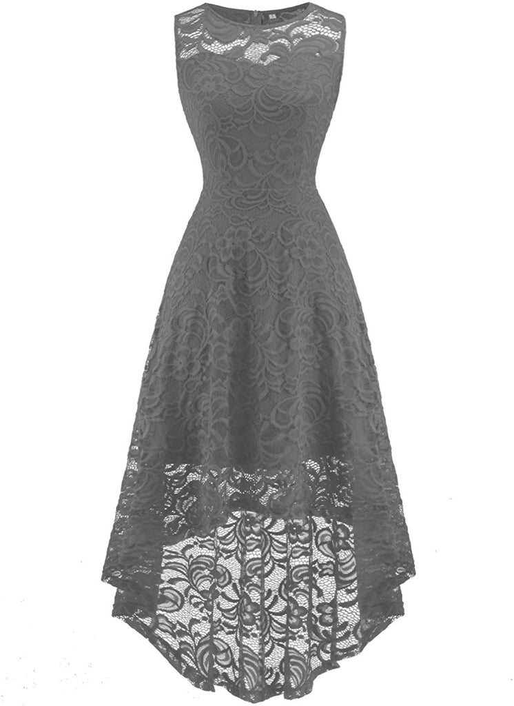 Women's Halter Hi-Lo Floral Lace Cocktail Party Bridesmaid Vintage Dress