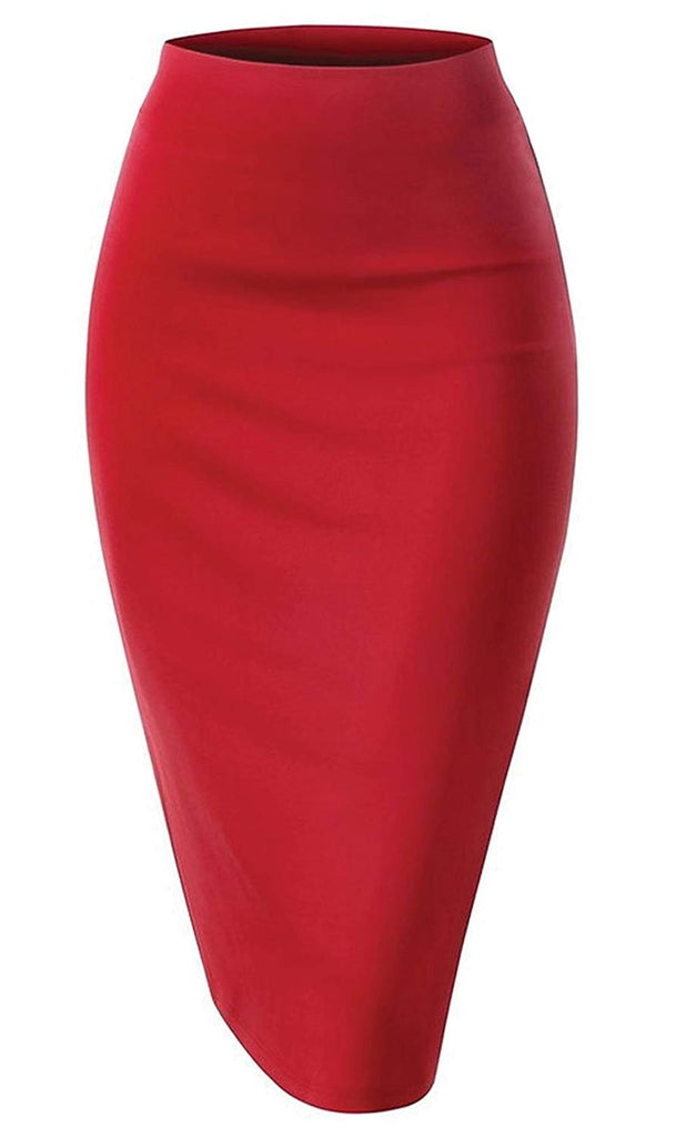 Women's Waist Stretch Bodycon Midi Pencil Skirt