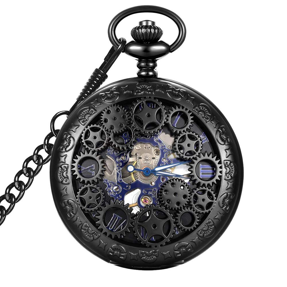 Steampunk Blue Hands Scale Mechanical Skeleton Pocket Watch with Chain Xmas Fathers Day Gift