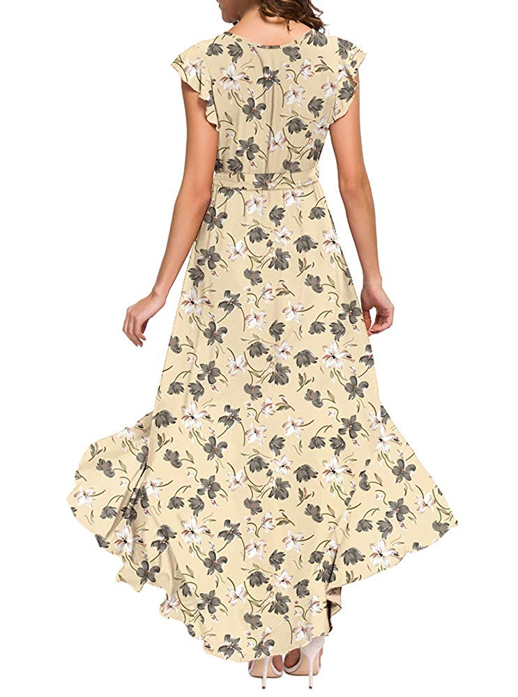 GRECERELLE Women's Summer Floral Print Cross V Neck Dress Bohemian Flowy Long Maxi Dresse
