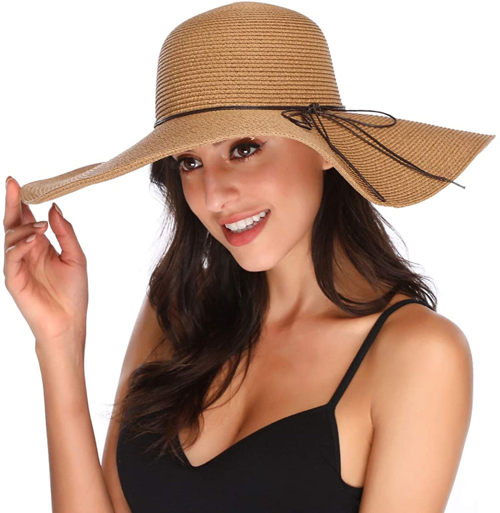 Women's Floppy Big Brim Hat Bowknot Straw Hat Foldable Roll up Sun Hat