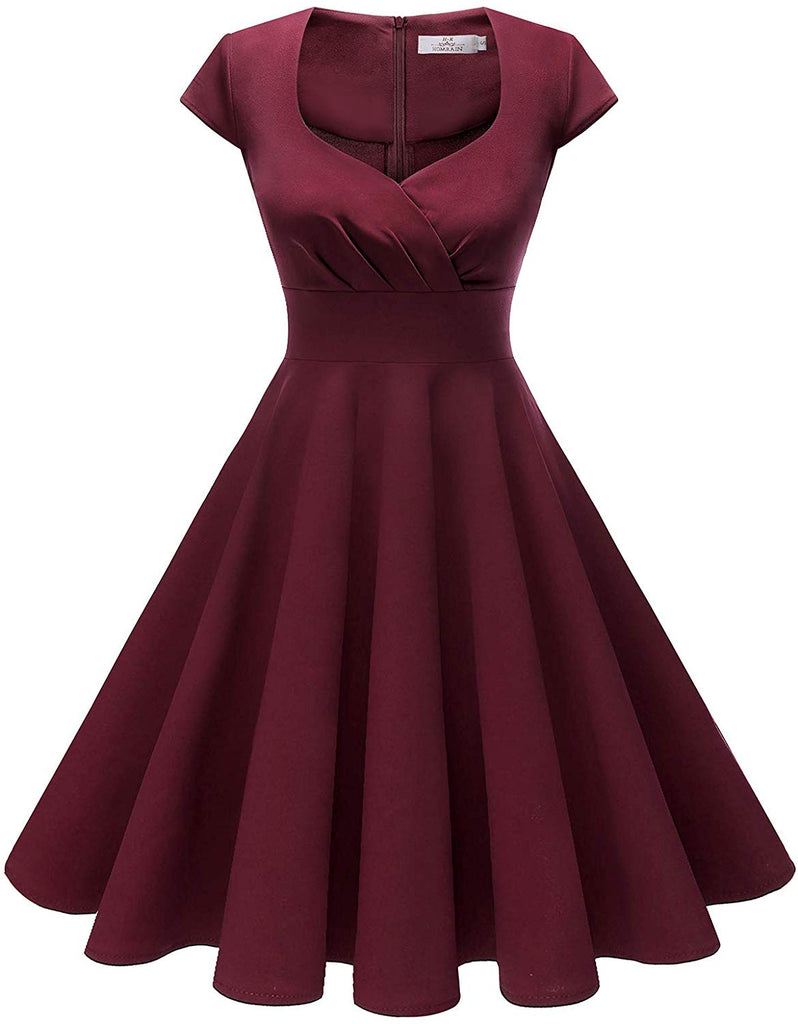Women's Christmas Cocktail Dress Vintage 1950s Retro Cap Sleeve A-Line Rockabilly Swing Dress